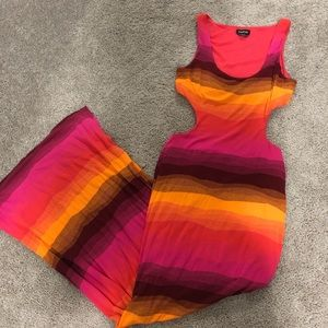Multi Colored Striped Cut Out Maxi Dress [ bebe ]